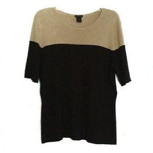 Black/Tan Color Block Knit Top Ann Taylor XL EUC